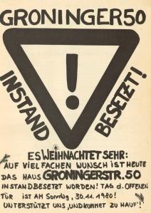 Doppelseitiges Flugblatt zur Instandbesetzung (27.11.1980). Klick um Rückseite zu lesen.
